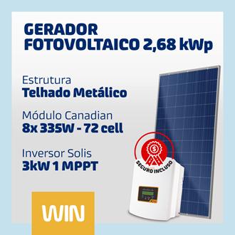 Imagem de GERADOR SOLAR FV WIN - 2,68 KWP - METÁLICO