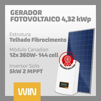 Imagem de GERADOR SOLAR FV WIN - 4,32 KWP - FIBROCIMENTO