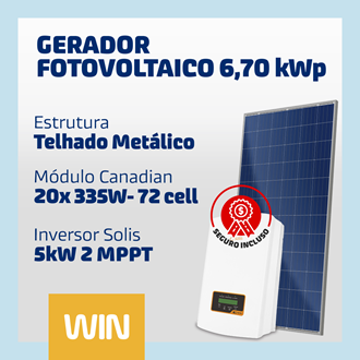 Imagem de GERADOR SOLAR FV WIN - 6,70 KWP - METÁLICO