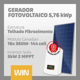 Imagem de GERADOR SOLAR FV WIN - 5,76 kWp - FIBROCIMENTO