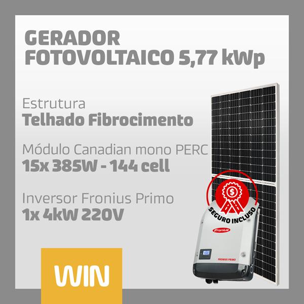 imagem de GERADOR SOLAR FV WIN - 5,77 KWP - FIBROCIMENTO