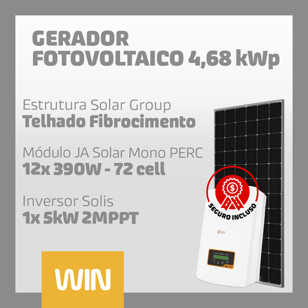 imagem de GERADOR SOLAR FV WIN - 4,68 KWP - FIBROCIMENTO