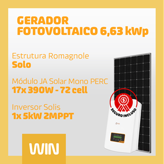 Imagem de GERADOR SOLAR FV WIN - 6,63 KWP - SOLO