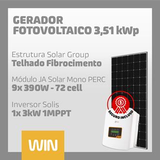 Imagem de GERADOR SOLAR FV WIN - 3,51 KWP - FIBROCIMENTO