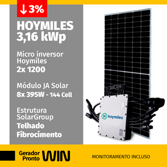 Imagem de GERADOR DE ENERGIA SOLAR 3,16KWP HOYMILES FIBROCIMENTO WIN