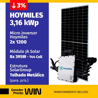 Imagem de GERADOR DE ENERGIA SOLAR 3,16KWP HOYMILES METALICO WIN
