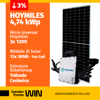 Imagem de GERADOR DE ENERGIA SOLAR 4,74KWP HOYMILES CERAMICO WIN